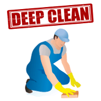 A cartoon cleaner with deep clean in big red letters above