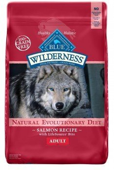 Pouch of Blue buffalo wilderness dog food on white bg