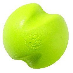 Luminous yellow Durable Ball Dog Chew Toy on white BG