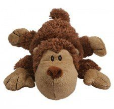 A soft, brown dog shaped stuffed dog toy