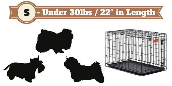 Small size dog crate next to 3 silhouetted small dogs on white bg