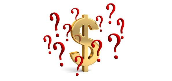 A gold dollar sign surrounded by floating red question marks