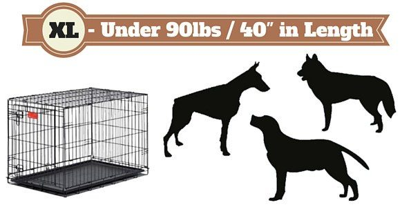 XL size dog crate next to silhouette of 3 dogs