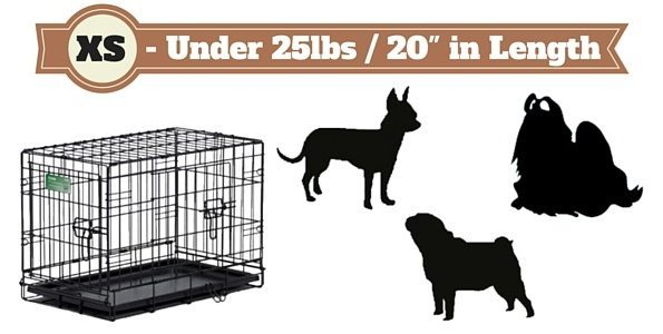Silhouette of 3 miniature dogs next to a dog crate on white bg