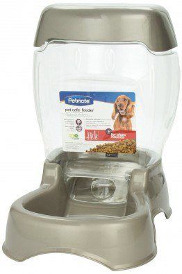 An example of a gravity pet feeder on white bg