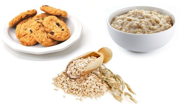 Oatmeal, biscuits and porridge arranged on a white background