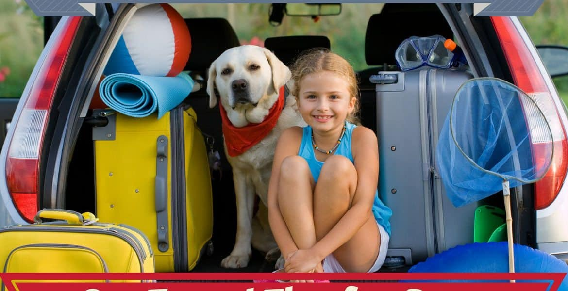 Car travel tips for dogs written below a young girl and lab sitting in open boot of a car