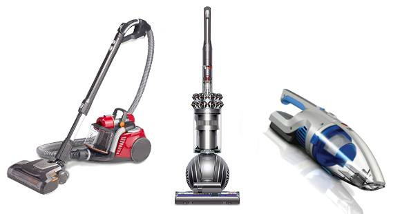 A canister, handheld and upright vacuum side by side on white bg