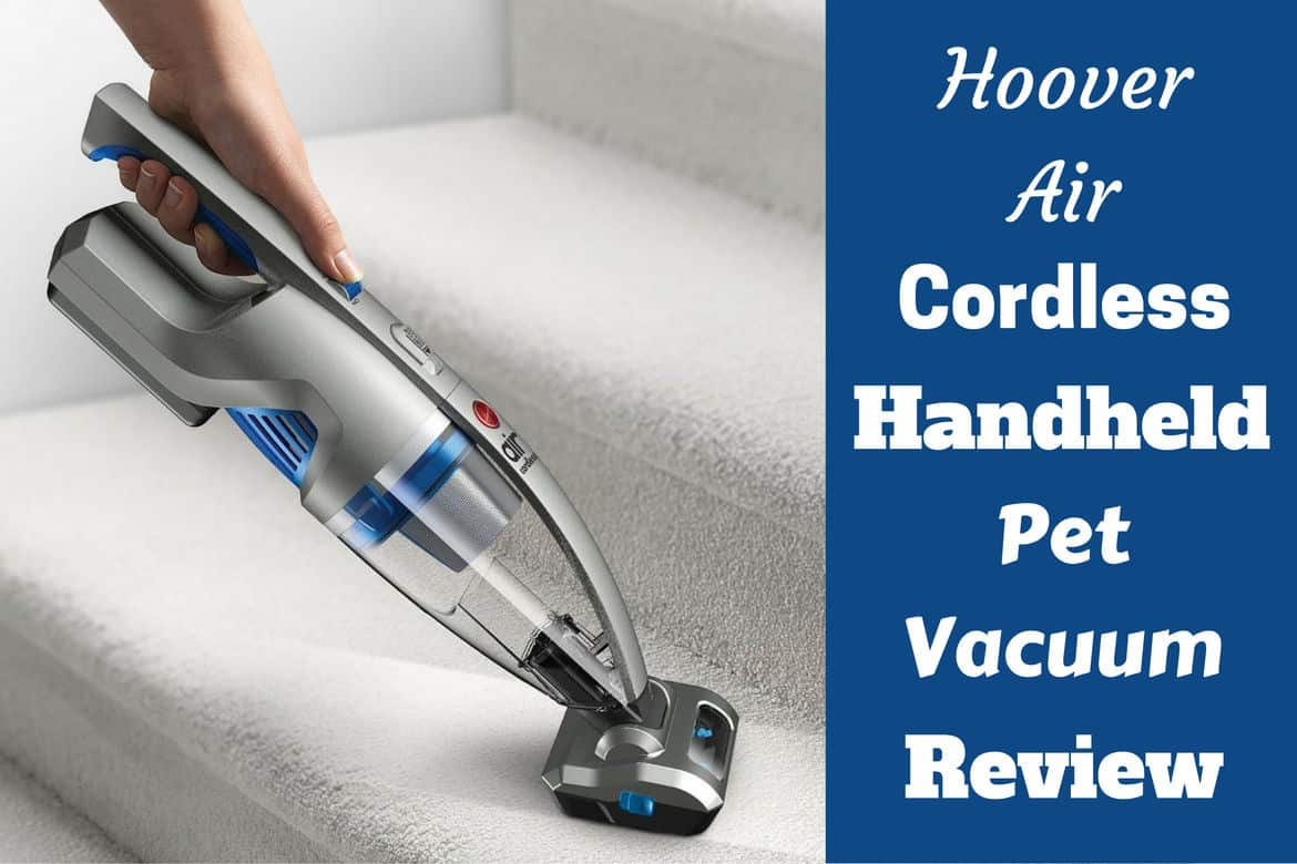 Hoover Air Handheld Vacuum being used on stair carpet