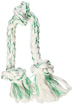 Green and white Booda Fresh N Floss rope chew toy isolated on white