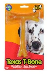 Fido Texas T-Bone Dental Dog Bone chew in packaging isolated on white