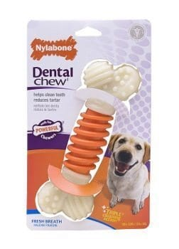 A single Nylabone Dental Chew isolated on white