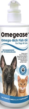 Omega ease fish oil for dogs isolated on white