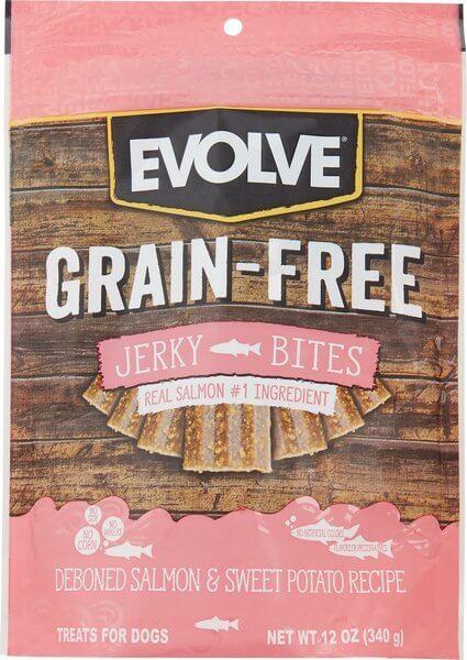 Evolve Salmon & Sweet Potato Recipe Jerky Bites Grain-Free Dog Treats