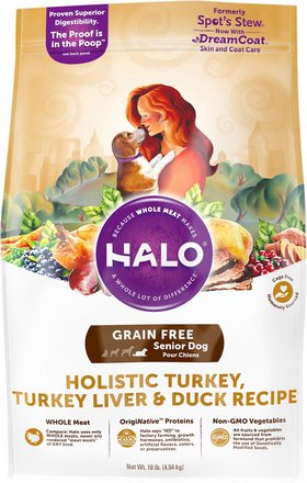 Halo Holistic Turkey, Turkey Live & Duck Recipe Grain-Free Senior Dry Dog Food