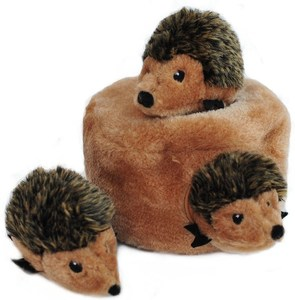 ZippyPaws Burrow Squeaky Hide & Seek Plush Dog Toy, Hedgehog Den
